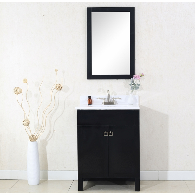 "Legion Furniture - 24"" Espresso Sink Vanity with Mirror - No Faucet - WLF7020-E_WLF7016-E-M"