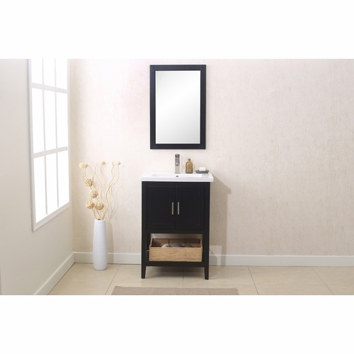"""Legion Furniture - 24"""" Espresso Sink Vanity with Mirror, Upc Faucet And Basket - WLF6021-E"""