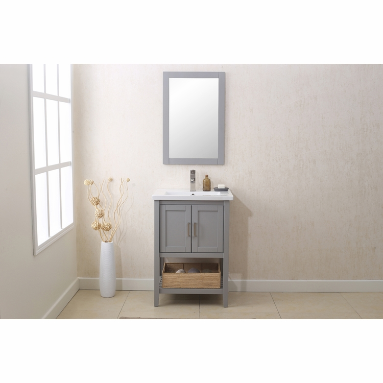 "Legion Furniture - 24"" Gray Vanity with Mirror, Upc Faucet And Basket - WLF6021-G"