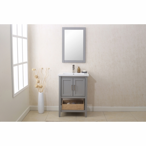 """Legion Furniture - 24"""" Gray Vanity with Mirror, Upc Faucet And Basket - WLF6021-G"""
