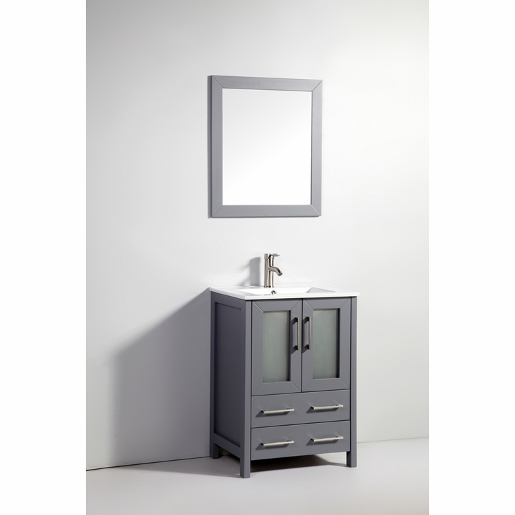 "Legion Furniture - 24"" Solid Wood Sink Vanity with Mirror in Dark Gray - No Faucet - WA7924DG"