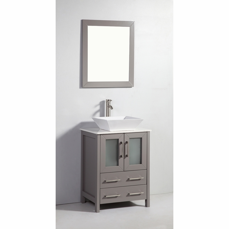 """Legion Furniture - 24"""" Solid Wood Sink Vanity with Mirror in Light Gray - No Faucet - WA7824LG"""