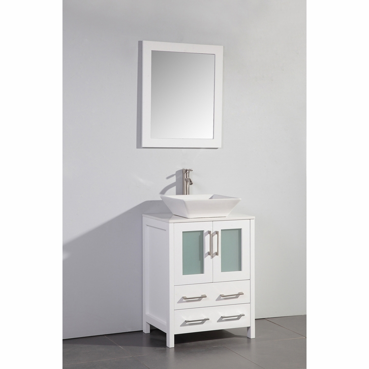 """Legion Furniture - 24"""" Solid Wood Sink Vanity with Mirror in White - No Faucet - WA7824W"""