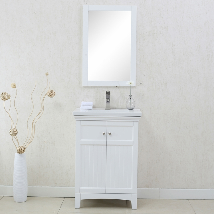 "Legion Furniture - 24"" White Sink Vanity with Mirror - No Faucet - WLF7016-W_WLF7016-W-M"