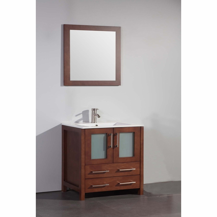 """Legion Furniture - 30"""" Solid Wood Sink Vanity with Mirror in Cherry - No Faucet - WA7930C"""