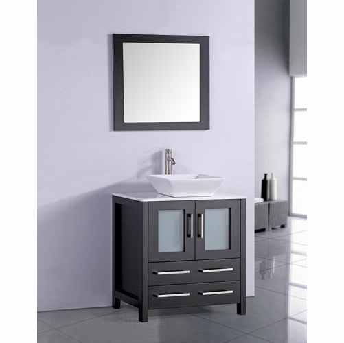 "Legion Furniture - 30"" Solid Wood Sink Vanity with Mirror in Espresso - No Faucet - WA7830E"