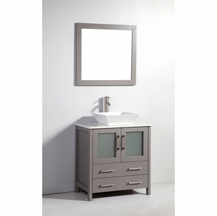 """Legion Furniture - 30"""" Solid Wood Sink Vanity with Mirror in Light Gray - No Faucet - WA7830LG"""
