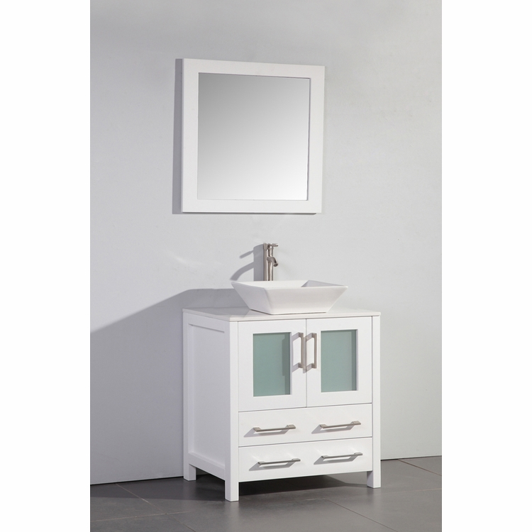 "Legion Furniture - 30"" Solid Wood Sink Vanity with Mirror in White - No Faucet - WA7830W"