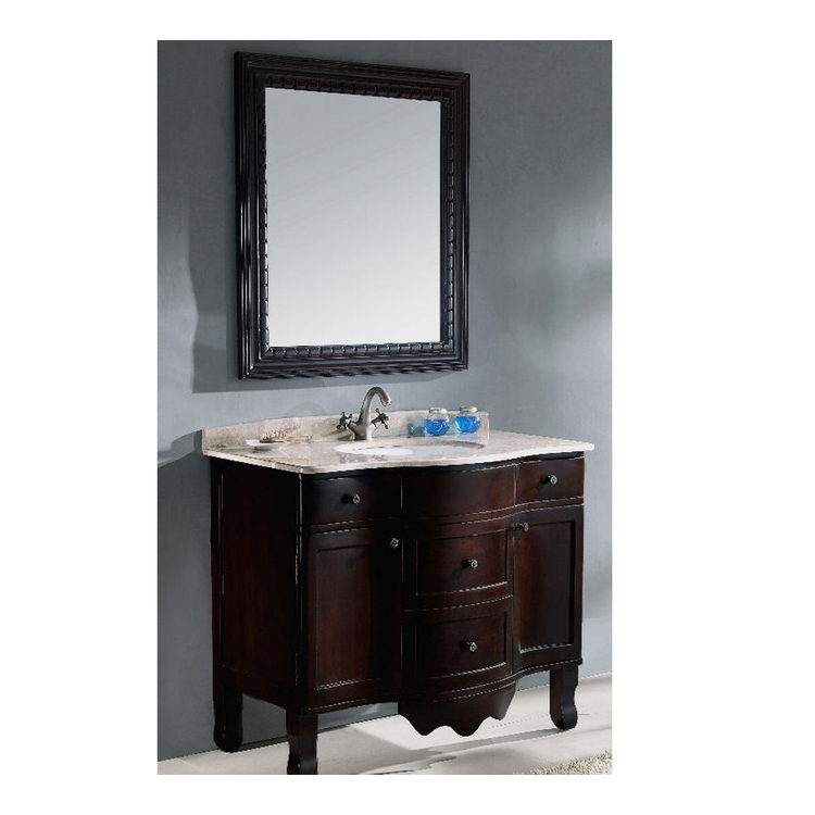 "Legion Furniture - 38"" Sink Chest with Mirror - Solid Wood in Cherry Brown and Black - No Faucet - WA3045_WA3045-M"
