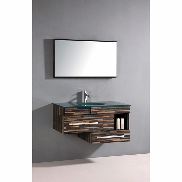 Legion Furniture - Sink Vanity with Mirror in Black Wood Pattern - No Faucet - WTH9032
