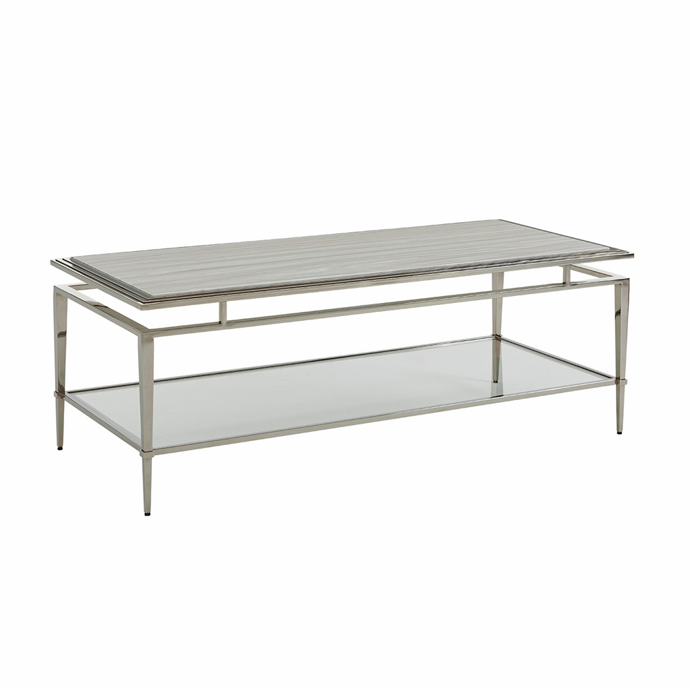 Marble And Silver Coffee Table.Lexington Ariana Athene Rectangular Cocktail Table In Platinum Finish Frame And Silver White Marble Top 01 0732 945c