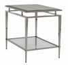 Lexington - Ariana Athene Rectangular End Table In Platinum Finish Frame And Silver White Marble Top - 01-0732-955c
