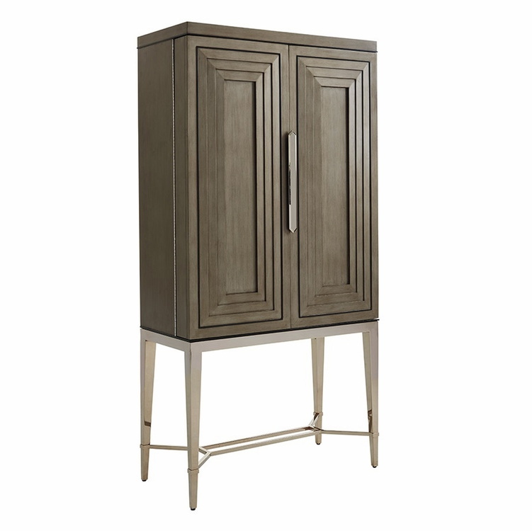 Lexington - Ariana Cheval Two Door Bar Cabinet In Platinum Finished Base And Rich Gray Finish - 01-0732-961c