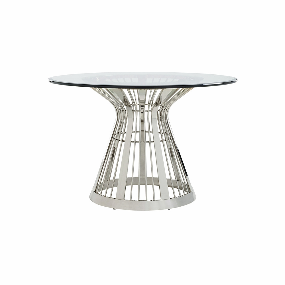 Lexington Ariana Riviera 48 Round Glass Top Dining Table With Base In Platinum Finish 01 0732 875 48c