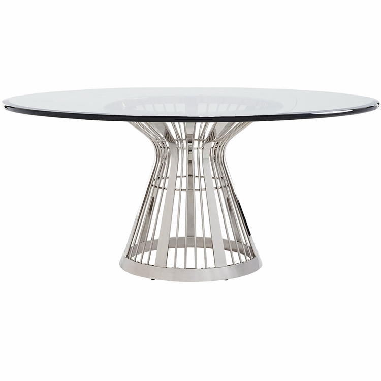 """Lexington - Ariana Riviera 72"""" Round Glass Top Dining Table With Base In Platinum Finish - 01-0732-875-72c"""