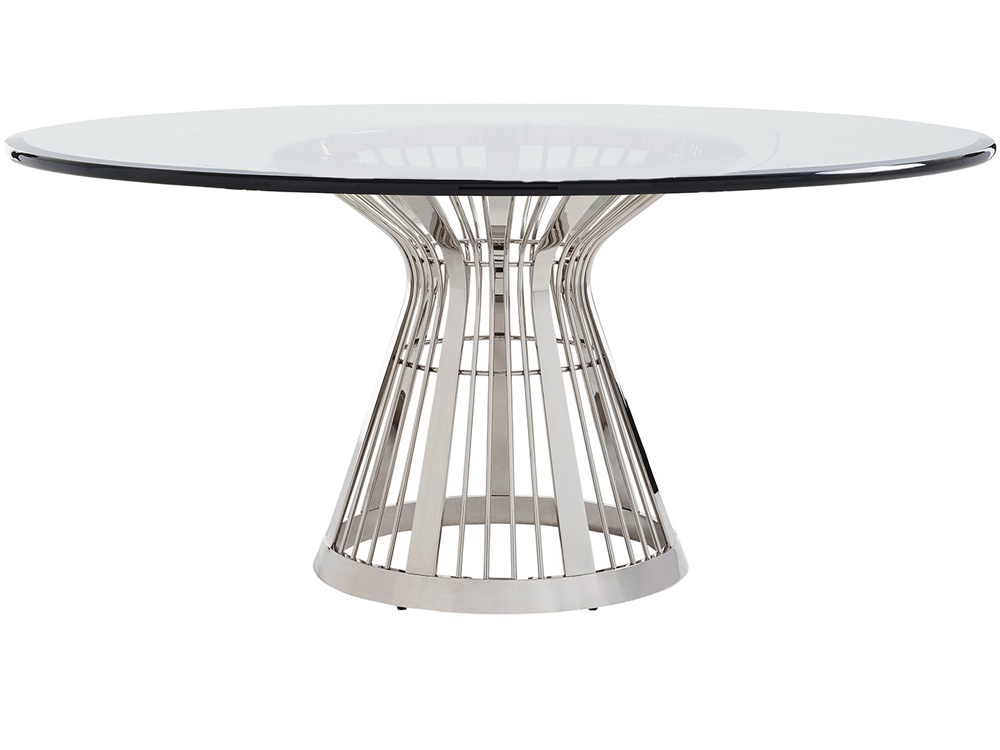 Lexington Ariana Riviera 72 Round Glass Top Dining Table With Base In Platinum Finish 01 0732 875 72c