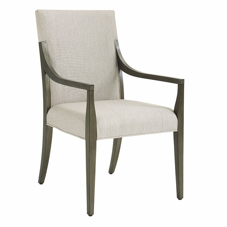 Lexington - Ariana Saverne Upholstered Arm Chair In Rich Gray Finish And Silver Gray Fabric - 01-0732-881-01