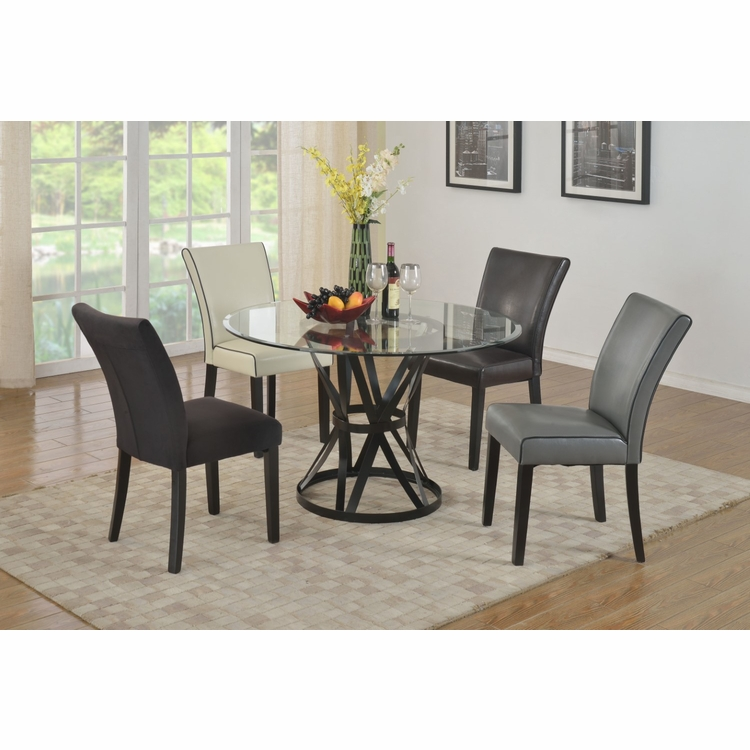 Chintaly - Pandora 5 Pieces Dining Set Table With 4 Michelle Side Chairs - PANDORA-MICHELLE-5PC