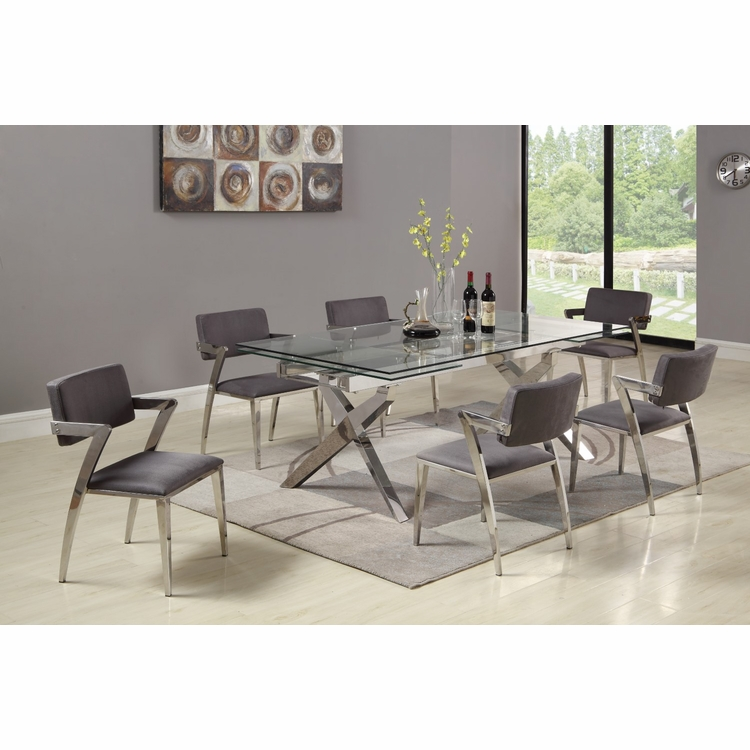 Chintaly - Paula 7 Pieces Dining Set Table With 6 Side Chairs - PAULA-7PC
