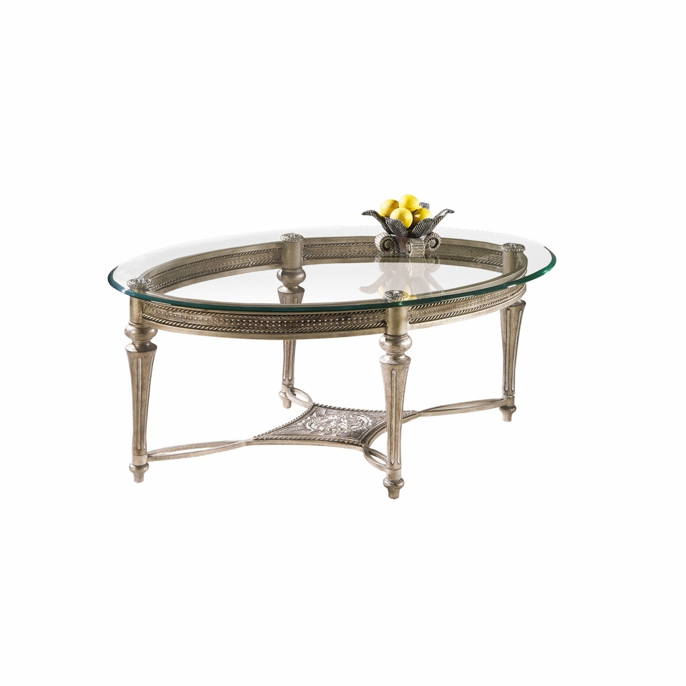 - Magnussen - Galloway Oval Cocktail Table With Glass Top
