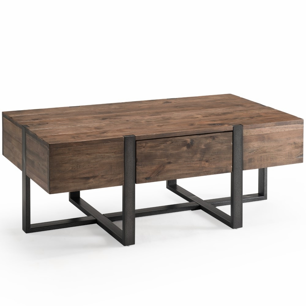 Magnussen Prescott Modern Reclaimed Wood Condo Rectangular Coffee Table In Rustic Honey T4344 44