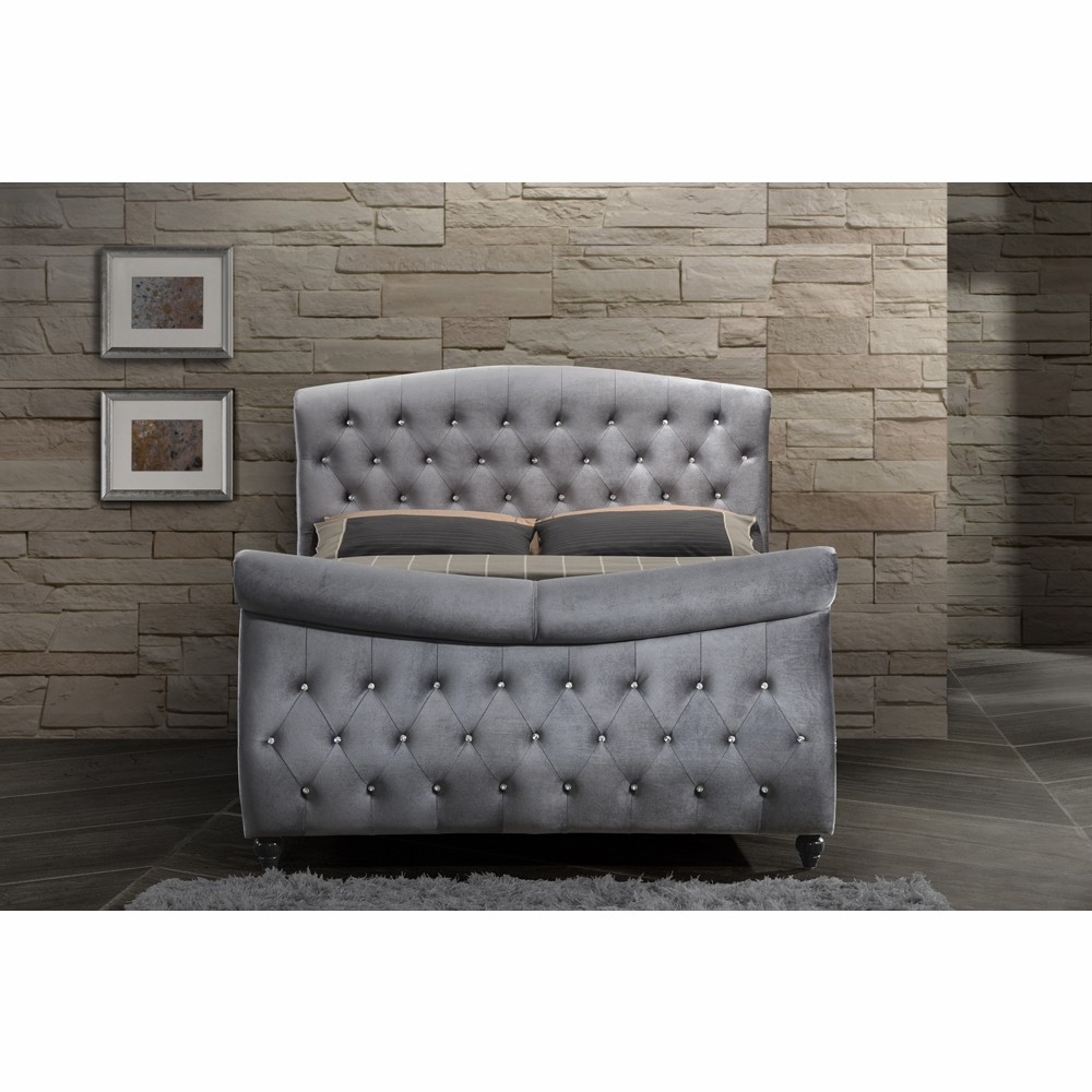 Miraculous Meridian Furniture Hudson Grey Velvet Queen Sleigh Bed Hudson Sleigh Q Gmtry Best Dining Table And Chair Ideas Images Gmtryco
