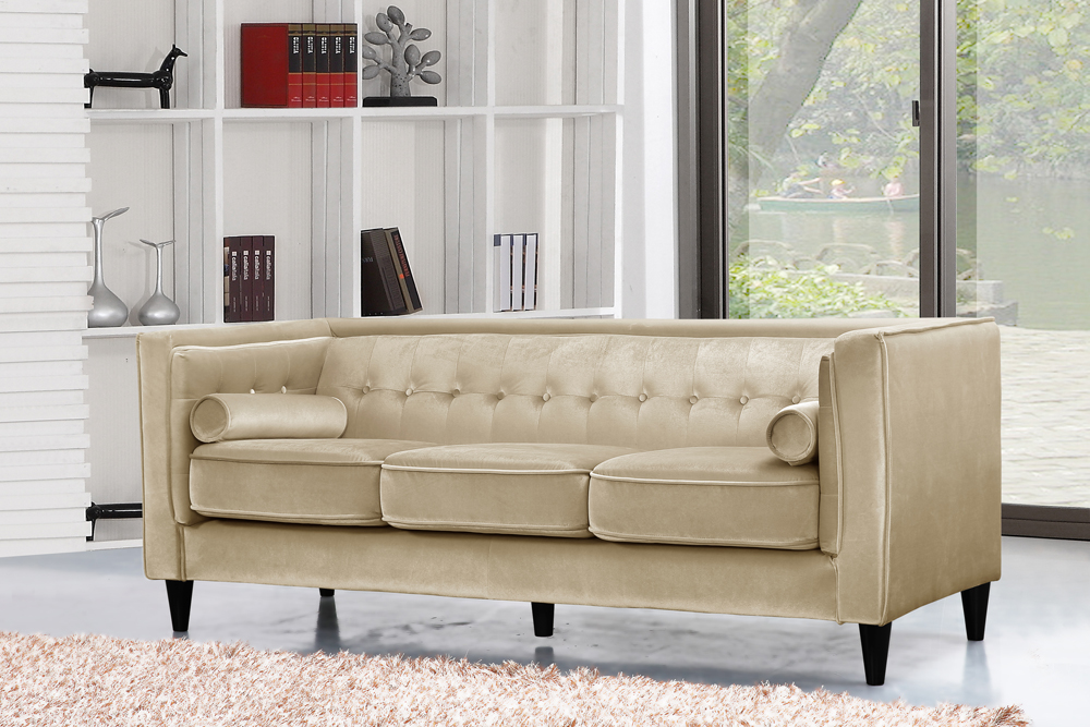 Meridian Furniture Taylor Beige Velvet Sofa 642be S