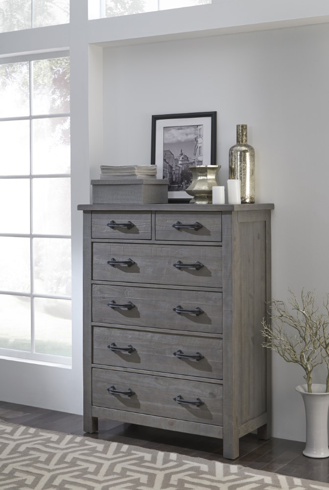 Modus Furniture Austin Six Drawer Solid Wood Chest In Rustic Gray