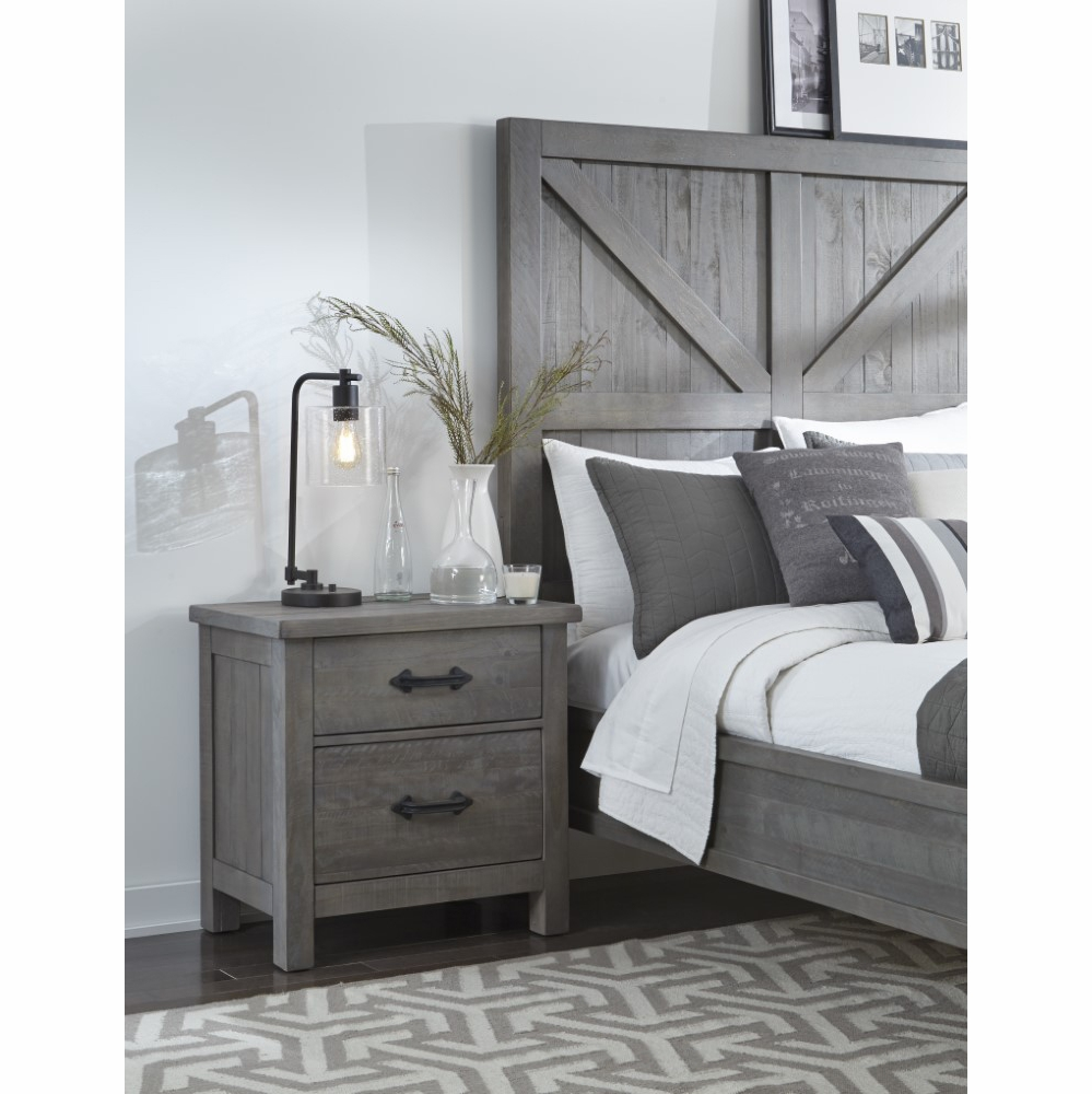 Modus Furniture - Austin Two Drawer Solid Wood Nightstand in Rustic Gray -  9X1381