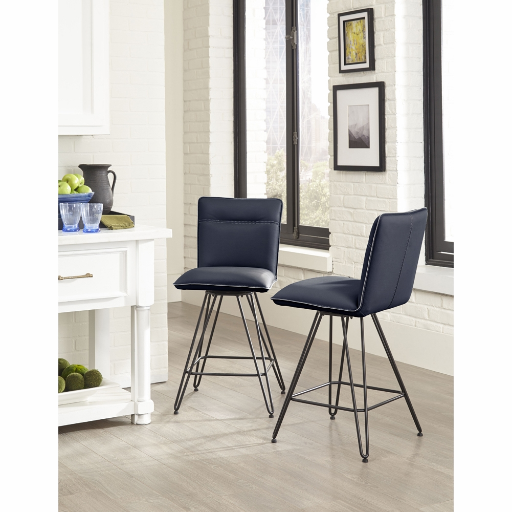 Amazing Modus Furniture Demi Hairpin Leg Swivel Counter Stool In Cobalt Set Of 2 9Le870D Gmtry Best Dining Table And Chair Ideas Images Gmtryco