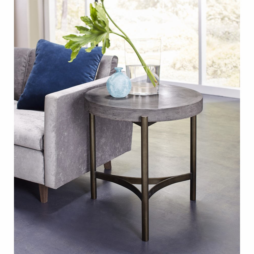 Modus Furniture Lyon Round Concrete And Metal Side Table A89422