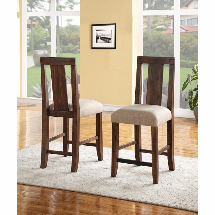 Modus Furniture - Meadow Solid Wood Upholstered Kitchen Counter Stool in Brick Brown (Set of 2) - 3F4170