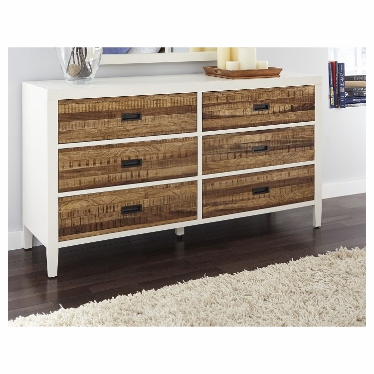 Modus Furniture Montana Six Drawer Dresser In White Lacquer And Natural Sengon 9wf482