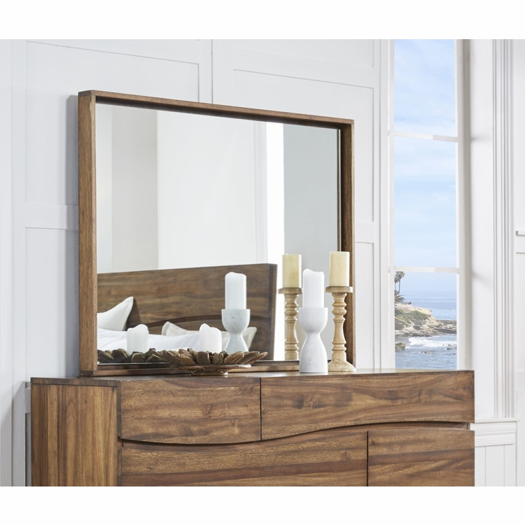 Modus Furniture - Ocean Solid Wood Floating Glass Mirror in Natural Sengon - 8C7983