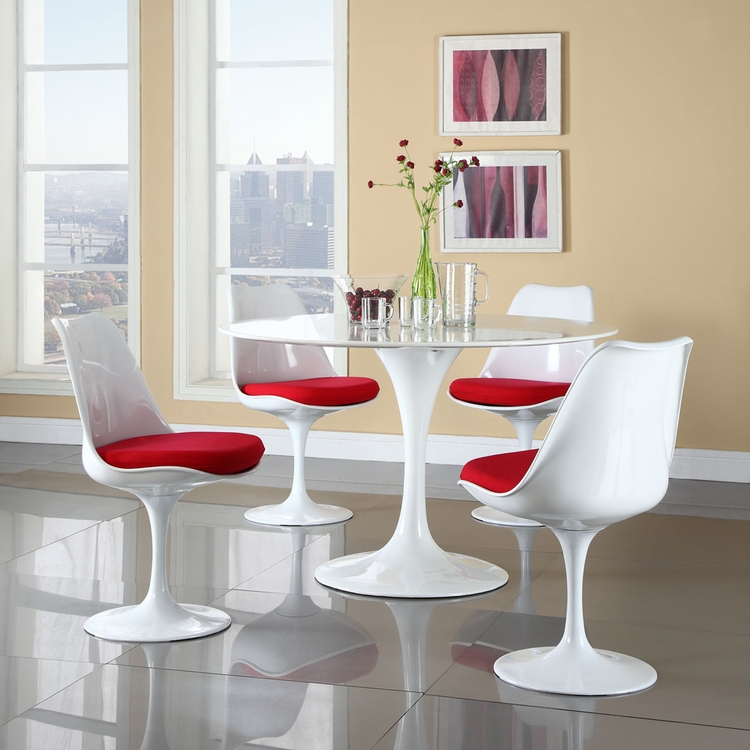 Modway - Lippa 5 Piece Dining Set in Red - EEI-854-RED