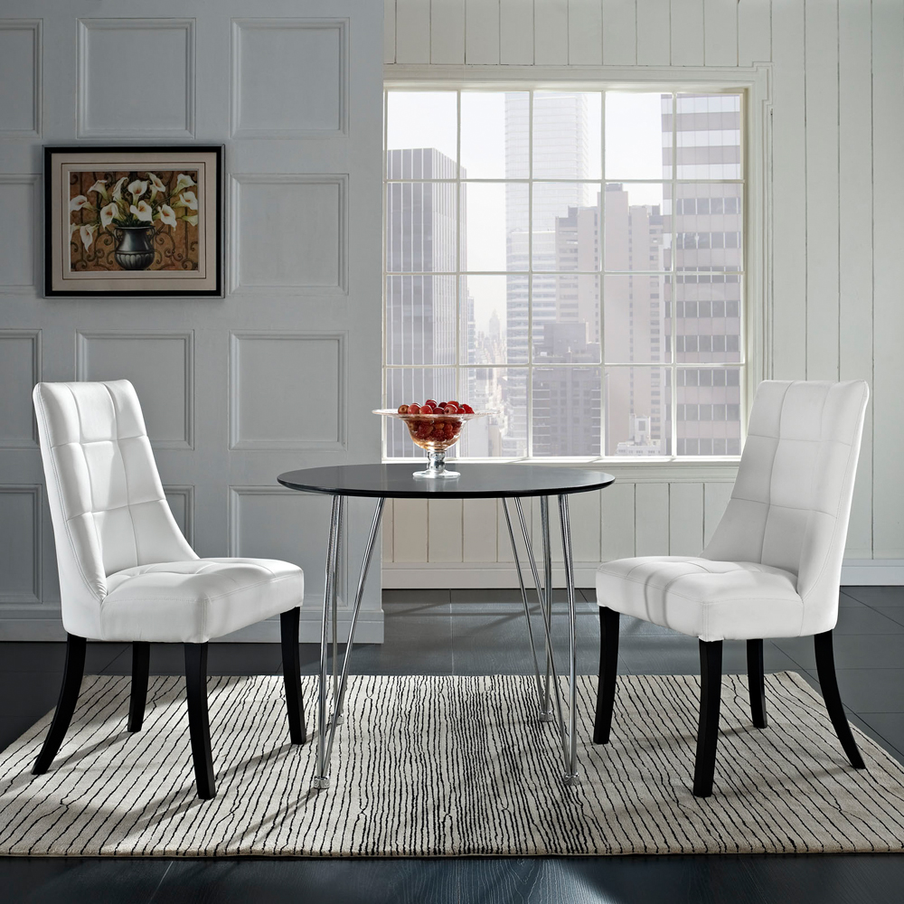 Modway - Noblesse Vinyl Dining Chair in White Set of 2 - EEI-1298-WHI