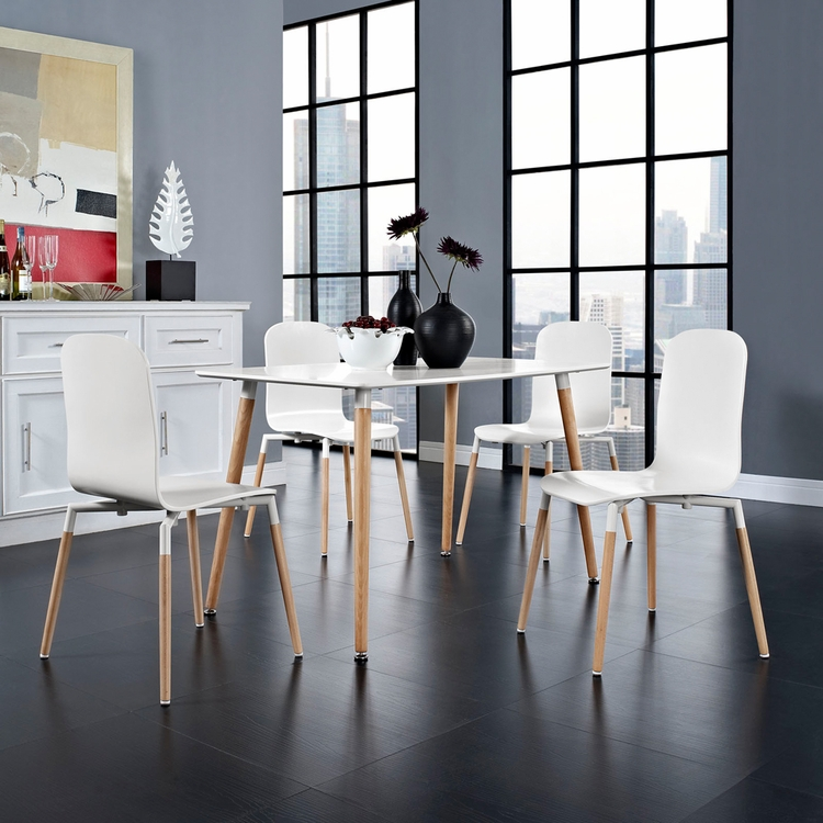 Modway - Stack Wood Dining Chairs and Table Set of 5 in White - EEI-1375-WHI