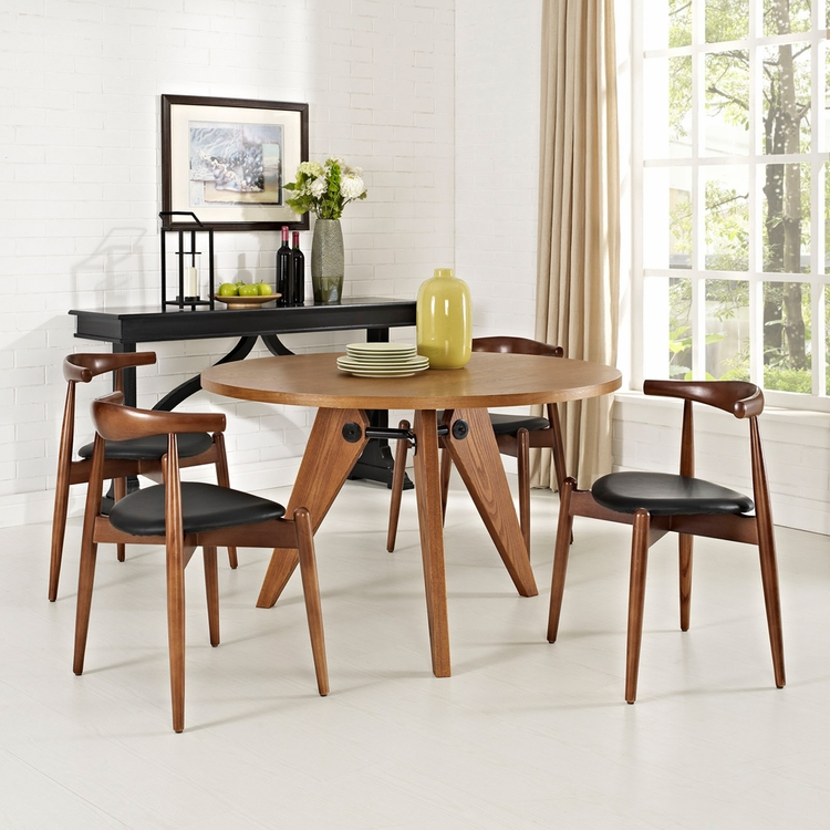 Modway - Stalwart Dining Chairs and Table Set of 5 in Dark Walnut Black - EEI-1379-WAL-DWL-BLK