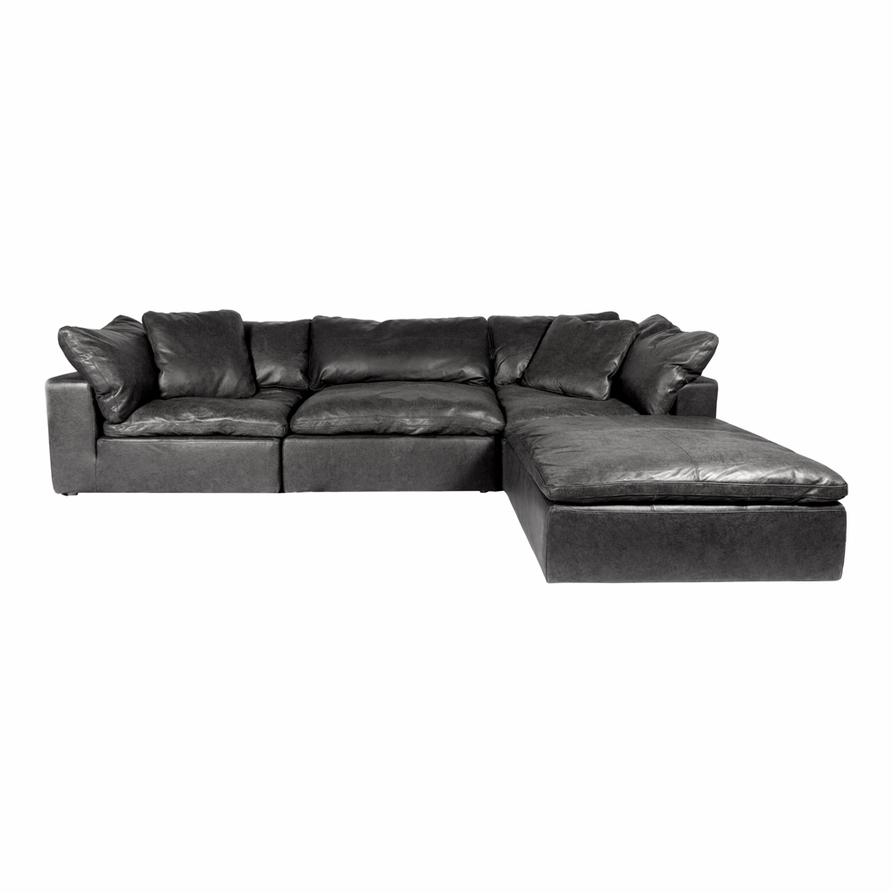 Moe\'s Home - Clay Lounge Modular Sectional Nubuck in Leather Black -  YJ-1008-02