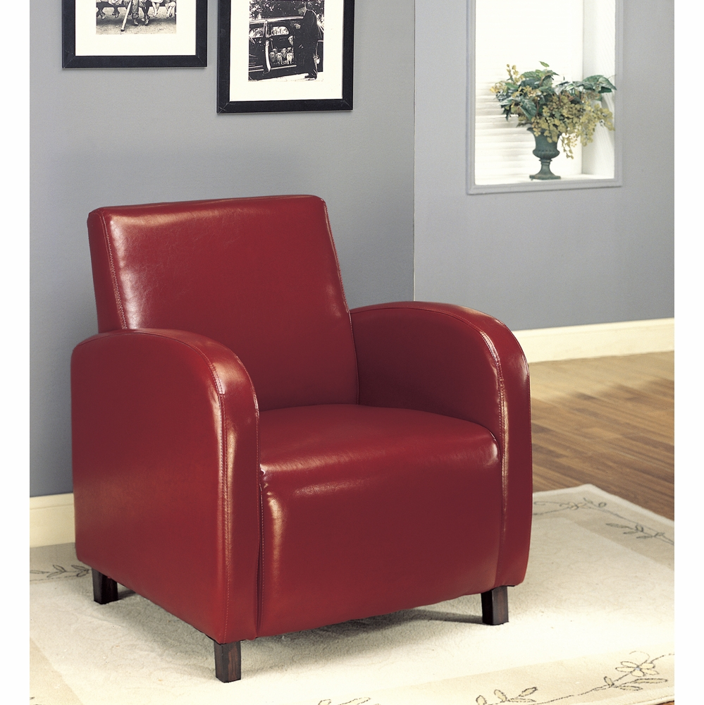 Monarch Specialties Accent Chair Burgundy Leather Look
