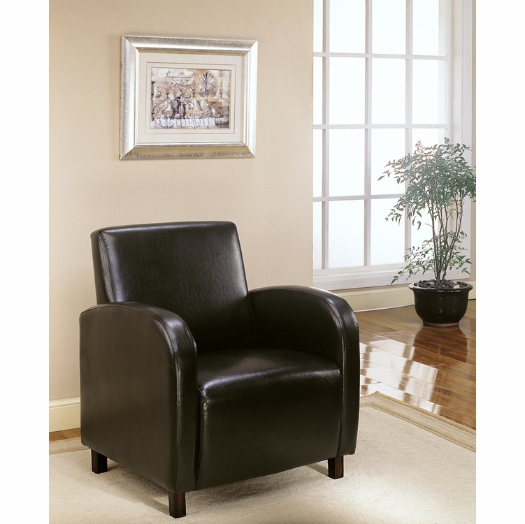 Monarch Specialties Accent Chair Dark Brown Leather Look