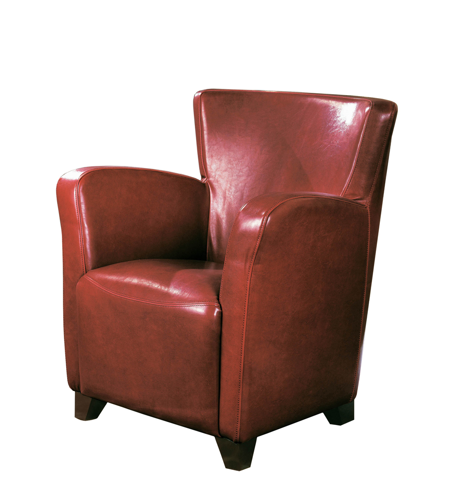 Monarch Specialties Accent Chair Red Leather Look Fabric