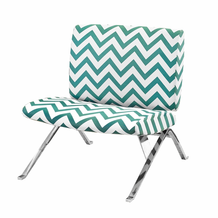 Monarch Specialties 1813 Fabric Metal Accent Chair: Accent Chair Teal Chevron Fabric