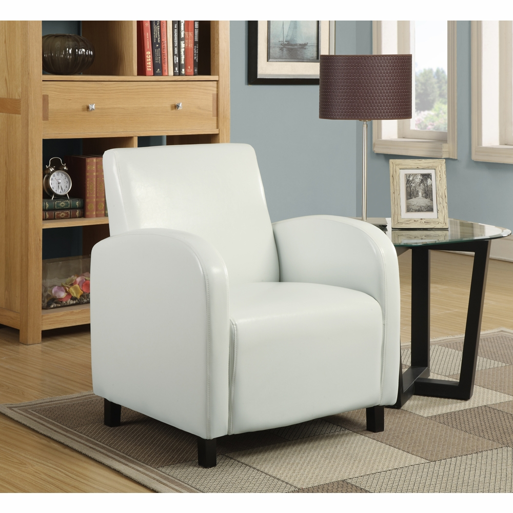Pleasant Monarch Specialties Accent Chair White Leather Look Fabric I 8049 Ibusinesslaw Wood Chair Design Ideas Ibusinesslaworg