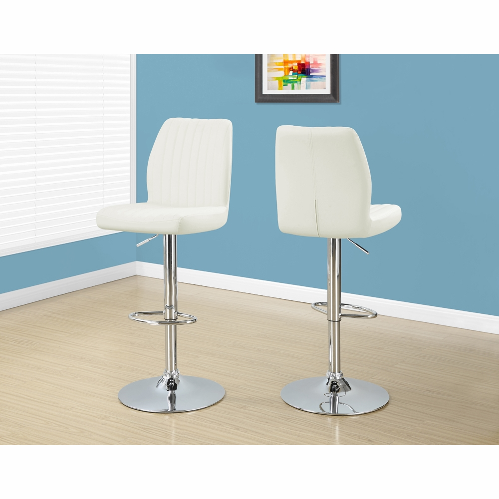 Tremendous Monarch Specialties Barstool 2 Pieces White Chrome Metal Hydraulic Lift I 2370 Camellatalisay Diy Chair Ideas Camellatalisaycom