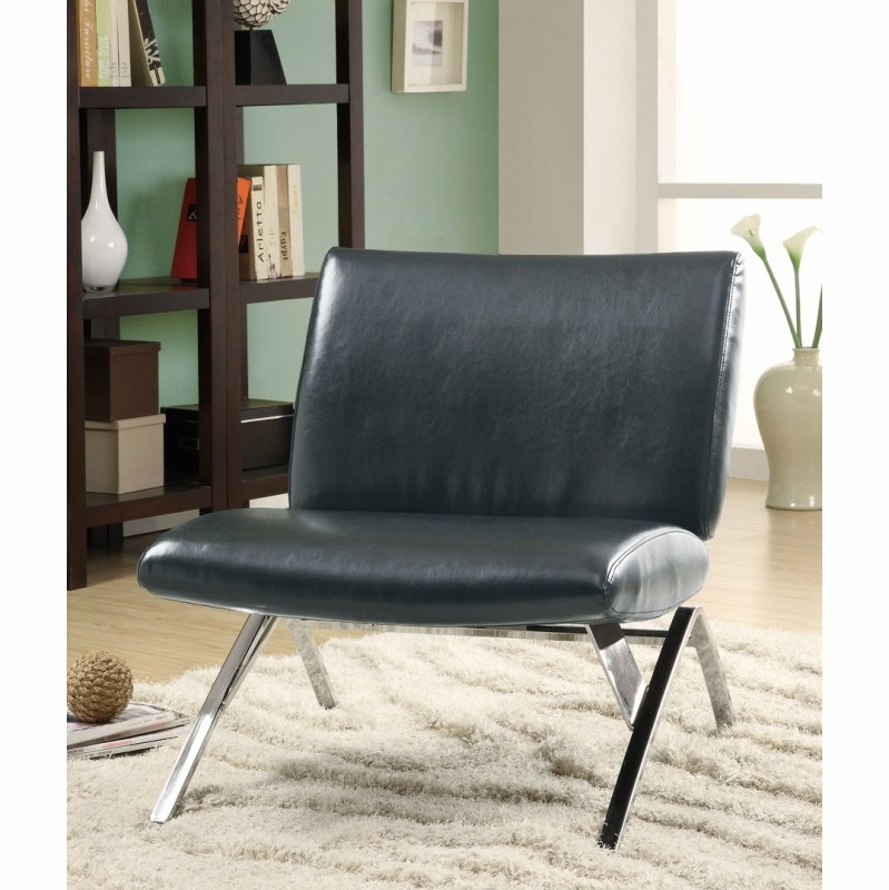 Excellent Monarch Specialties Black Leather Look Chrome Metal Modern Accent Chair I 8073 Inzonedesignstudio Interior Chair Design Inzonedesignstudiocom