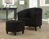 Monarch Specialties - Black Padded Micro-Fiber Accent Chair And Ottoman - I 8055