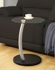Monarch Specialties - Black / Silver Bentwood Accent Table With Tempered Glass - I 3009