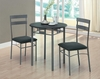 Monarch Specialties - Black / Silver Metal 3Pcs Bistro Set - I 3095