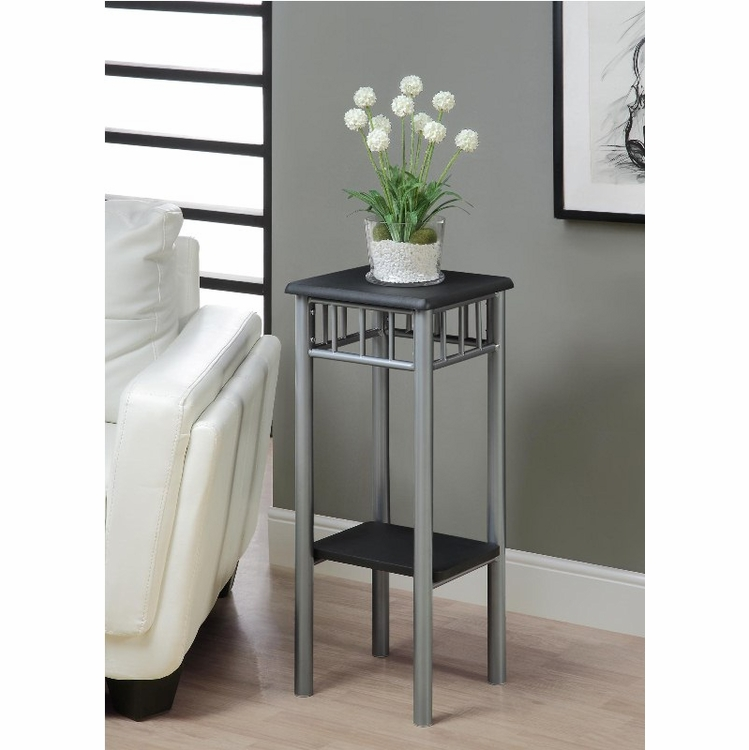 Monarch Specialties - Black / Silver Metal Plant Stand - I 3094